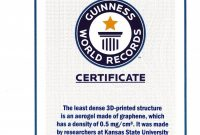 Record Holder Guinness World Records ™ Names Engineers' Graphene inside Guinness World Record Certificate Template