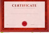 Red Certificate Diploma Template Award Pattern Stock Vector pertaining to Scroll Certificate Templates