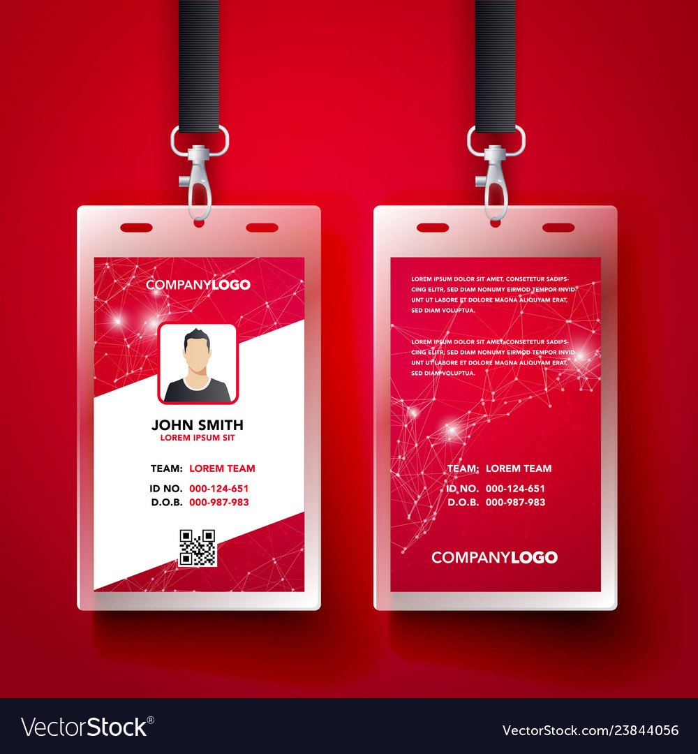 Red Corporate Id Card Design Template Set Vector Image In Template For Id Card Free Download
