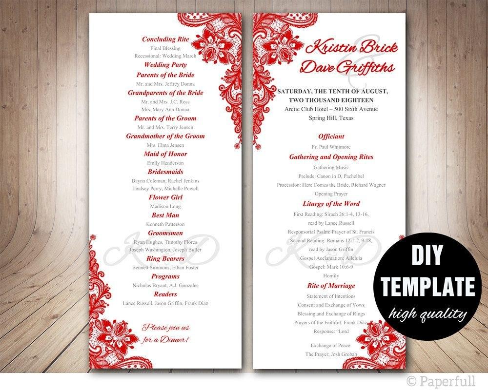Red Wedding Program Template Instant Download Microsoft Word Red Regarding Free Printable Wedding Program Templates Word