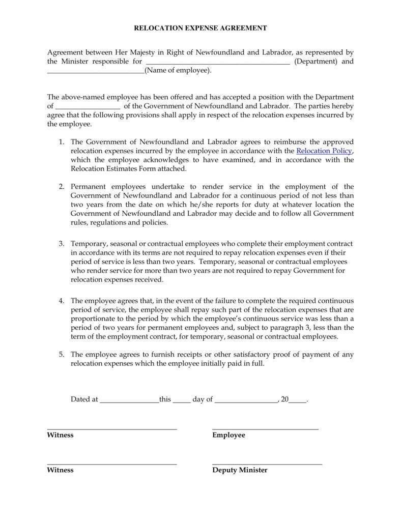 Relocation Agreement Templates  Pdf Word  Free  Premium Within Employee Repayment Agreement Template