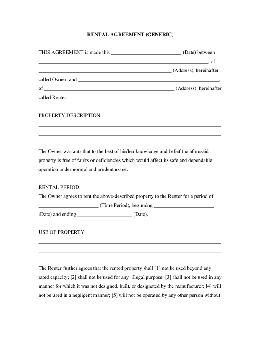 Rental Agreement  Fillable Printable Pdf  Forms  Handypdf Inside Yearly Rental Agreement Template