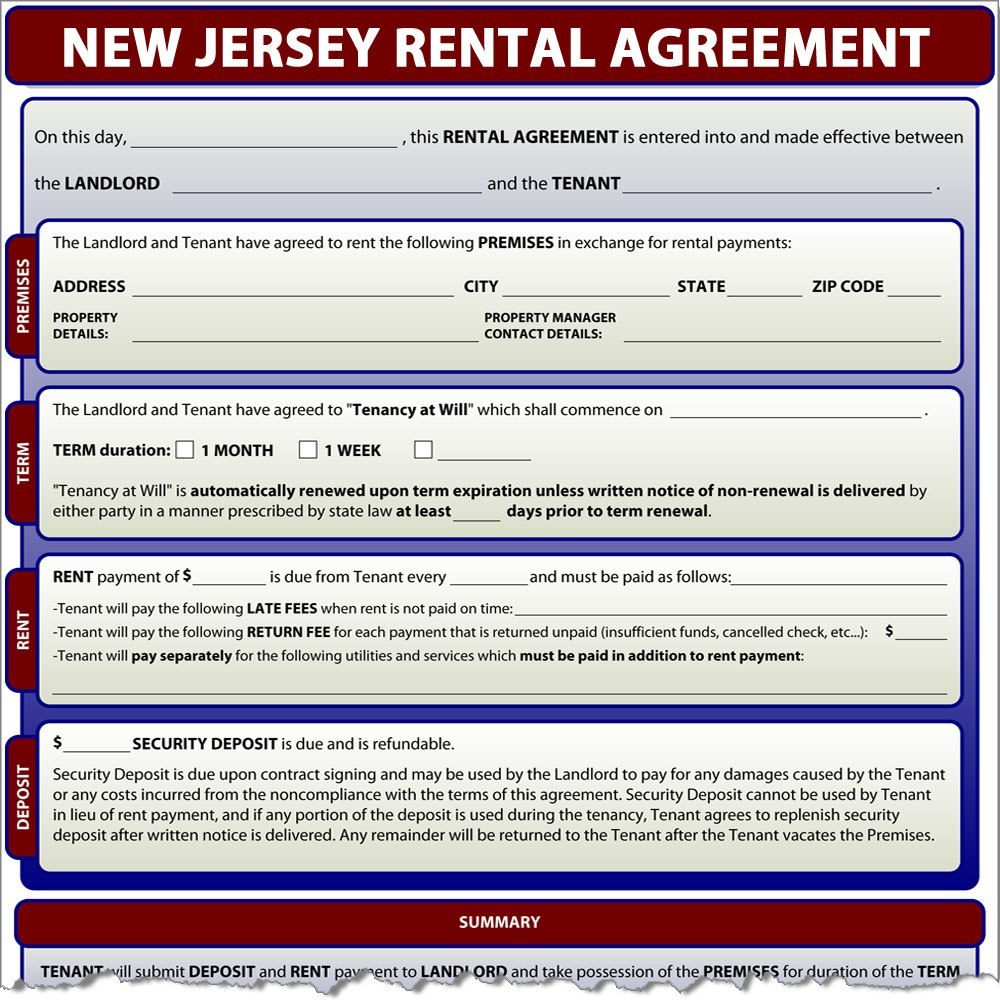 Rental Agreement Pertaining To New Jersey Residential Lease Agreement Template