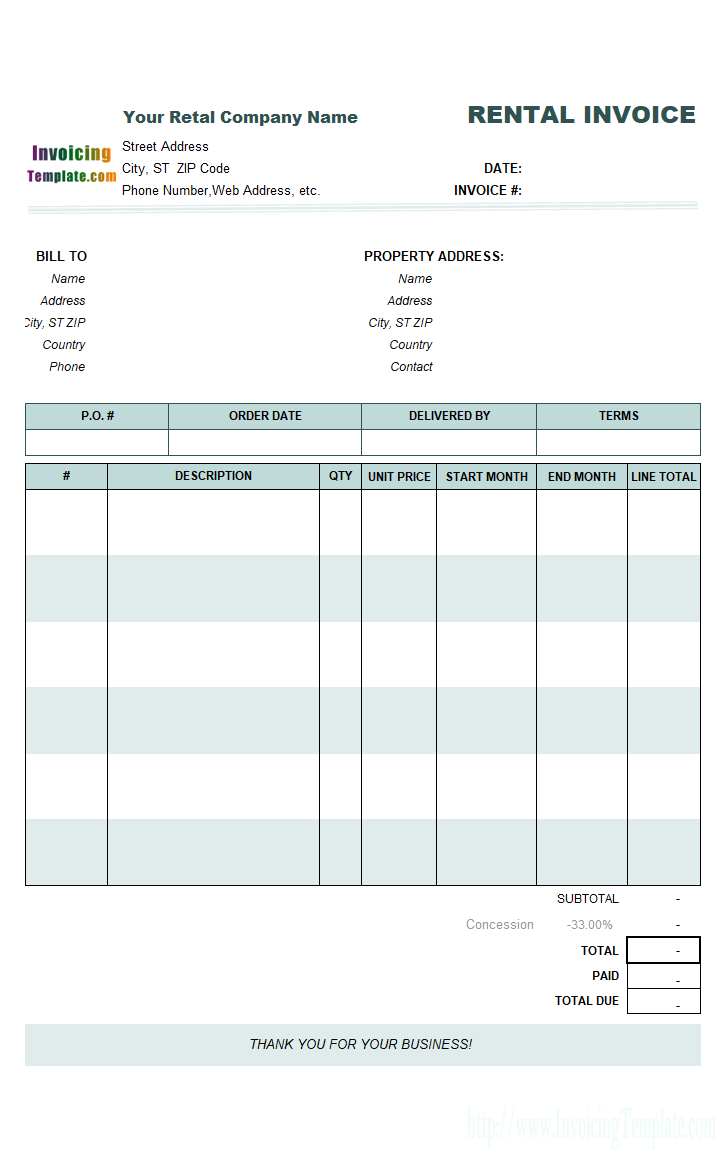 Rental Invoicing Template Intended For Monthly Rent Invoice Template