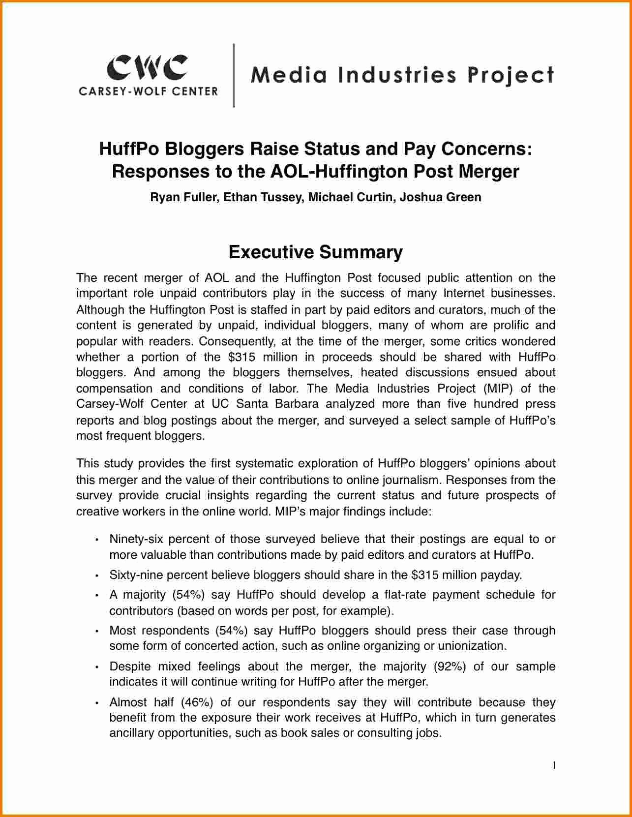 Report Executive Ary E  A Aries Execu Status Example Sample Pdf In Executive Summary Report Template