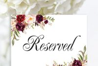 Reserved Sign Wedding Reserved Table Sign Reserved Card  Etsy with regard to Reserved Cards For Tables Templates