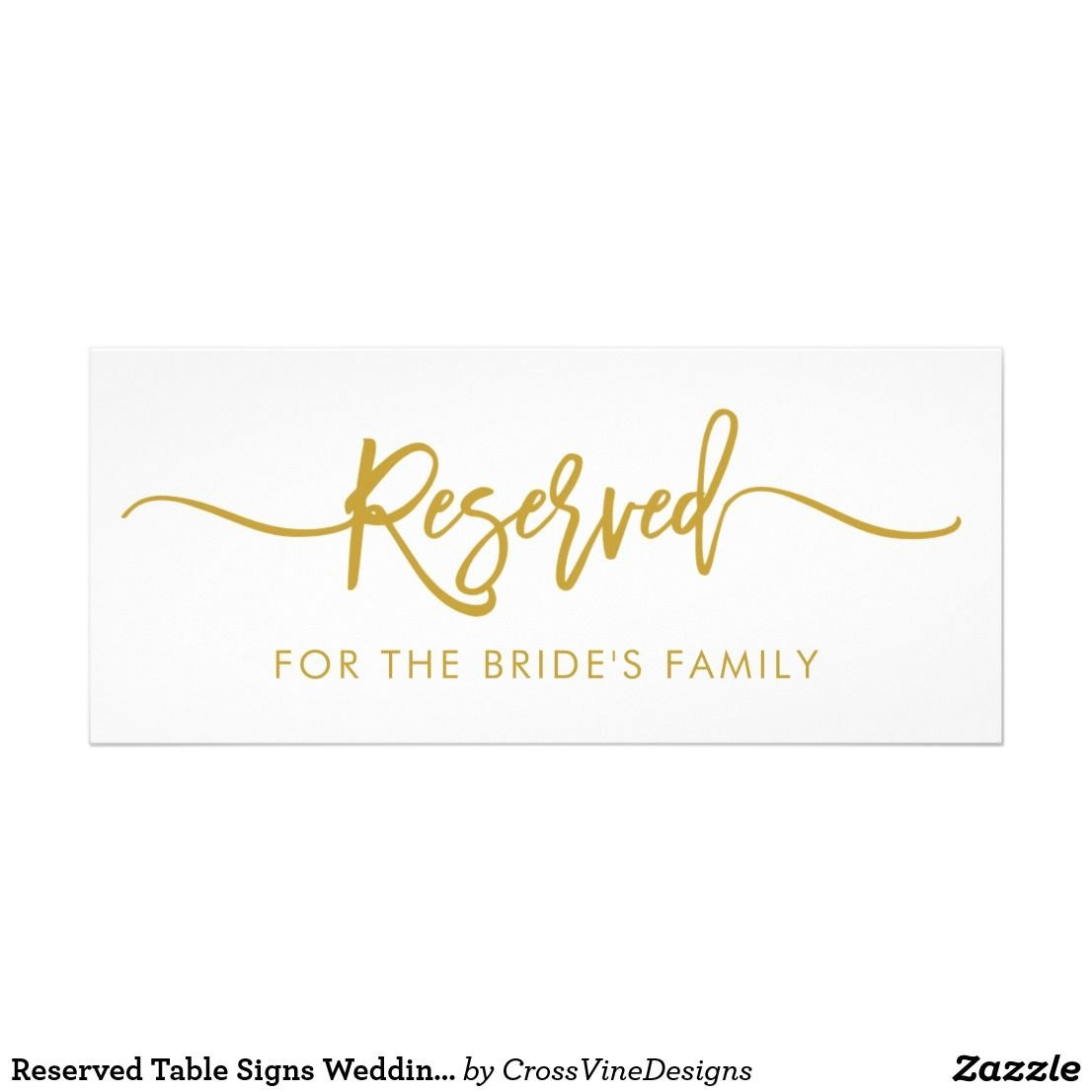Reserved Table Signs Wedding Sign Decor Card  Zazzle In For Reserved Cards For Tables Templates