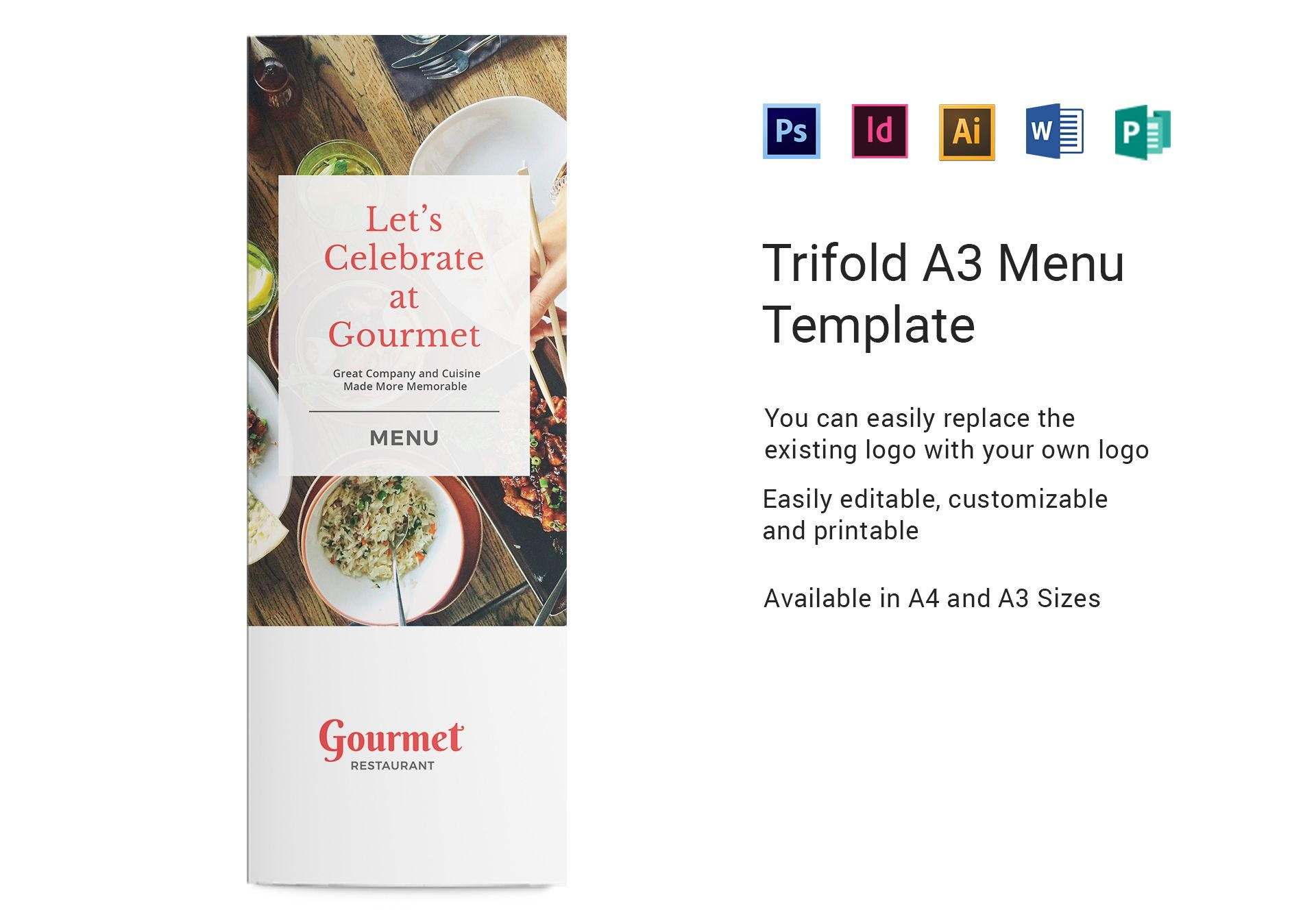 Restaurant A Menu Template In Psd Word Publisher Illustrator Pertaining To Menu Templates For Publisher
