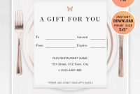 Restaurant Fillable Gift Certificate Template A Gift For You  Etsy with Restaurant Gift Certificate Template
