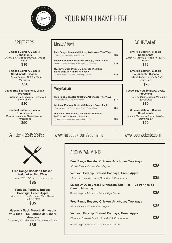 Restaurant Menu Template Word  Simple Template Design With Regard To Free Restaurant Menu Templates For Word