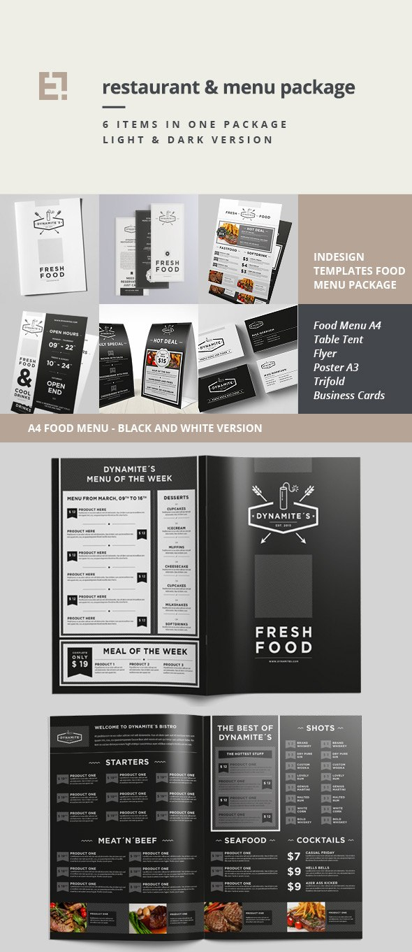 Restaurant Menu Templates With Creative Designs For Product Menu Template