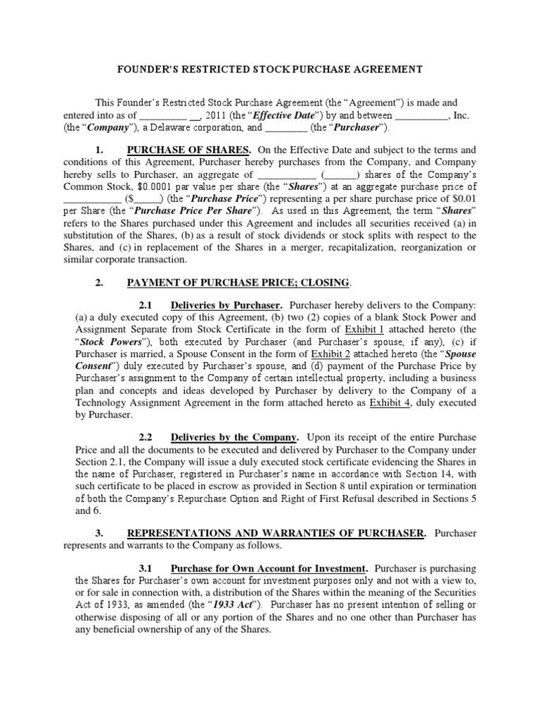 Restricted Stock Purchase Agreement Template  Lera Mera For Restricted Stock Purchase Agreement Template