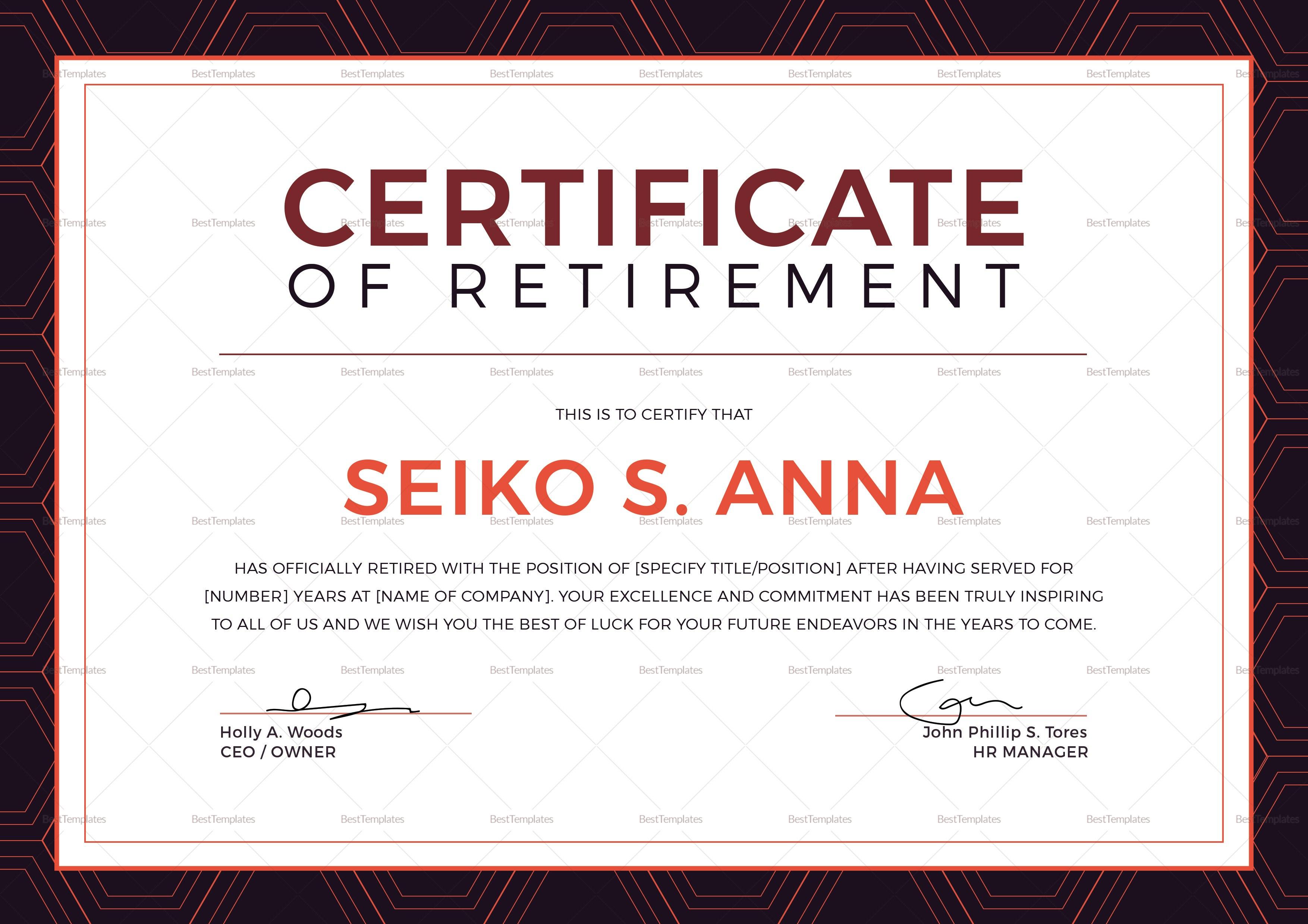 Retirement Certificate Design Template In Psd Word Publisher Intended For Retirement Certificate Template