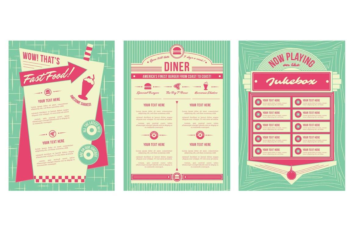 Retro Diner Vector Logo Templates Images  Flat Vector Retro Set With Regard To Diner Menu Template