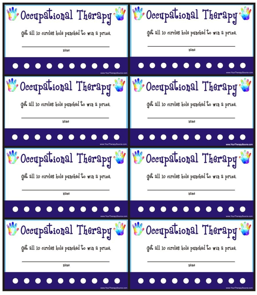 Reward Punch Cards For Otpt  Your Therapy Source With Regard To Reward Punch Card Template
