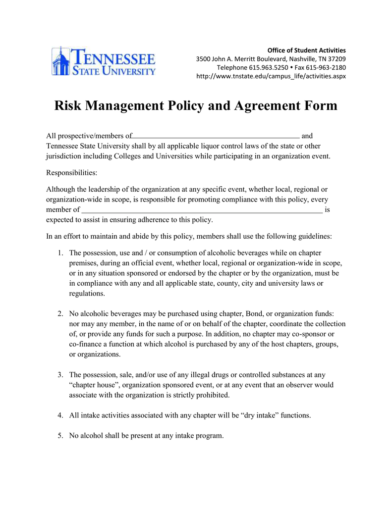 Risk Management Policy And Agreement Form Throughout Risk Management Agreement Template