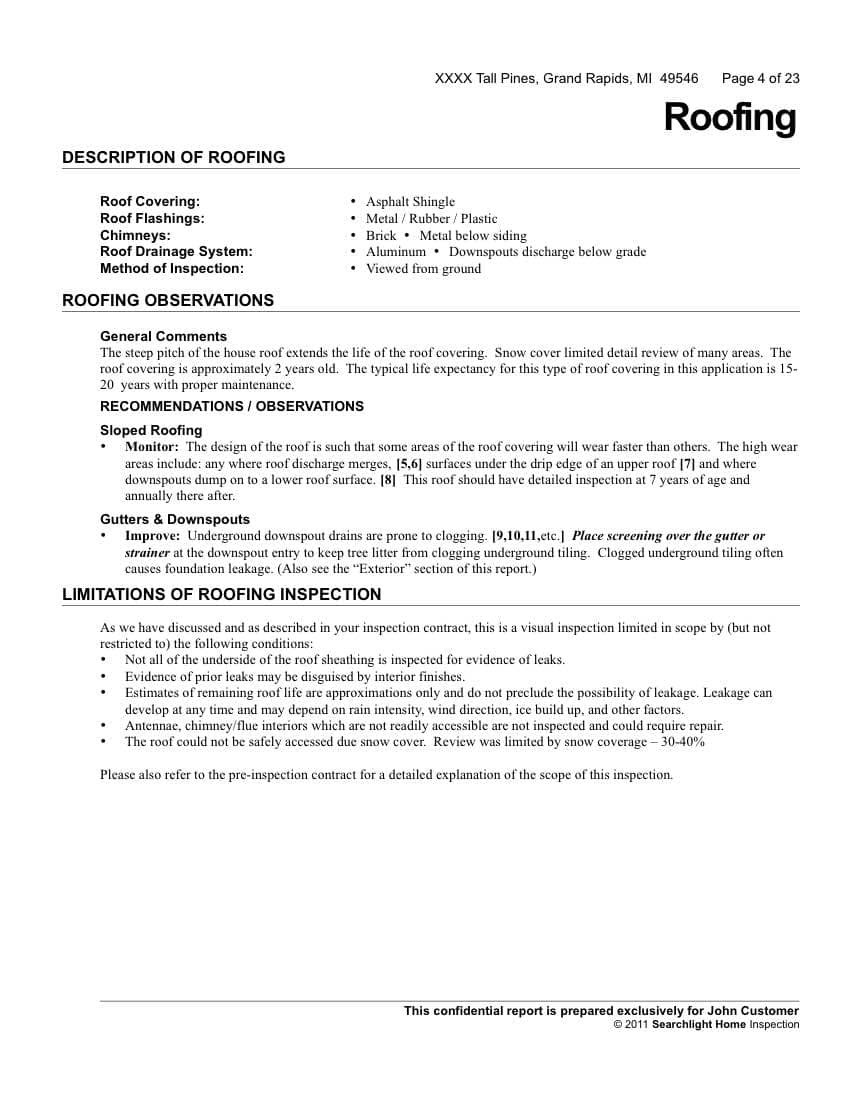 Roof Inspection Letter Template Sample Throughout Roof Inspection Report Template