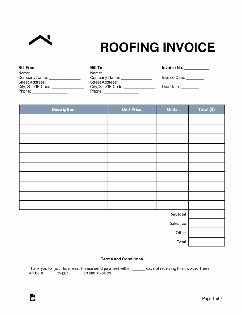 Roof Repair Invoice Sample Then Free Roofing Invoice Template Word Within Roofing Invoice Template Free