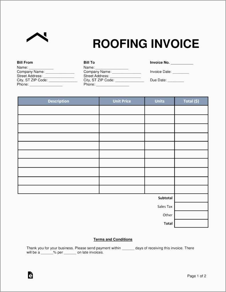 Roofing Templates Free Awesome Roof Invoice   Roof Repair Invoice Within Roofing Invoice Template Free