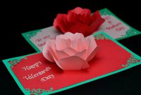 Rose Flower Pop Up Card Template within Diy Pop Up Cards Templates