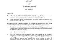 Royalty Agreement Between Musician And Manager  Legal Forms And pertaining to Artist Management Contract Templates