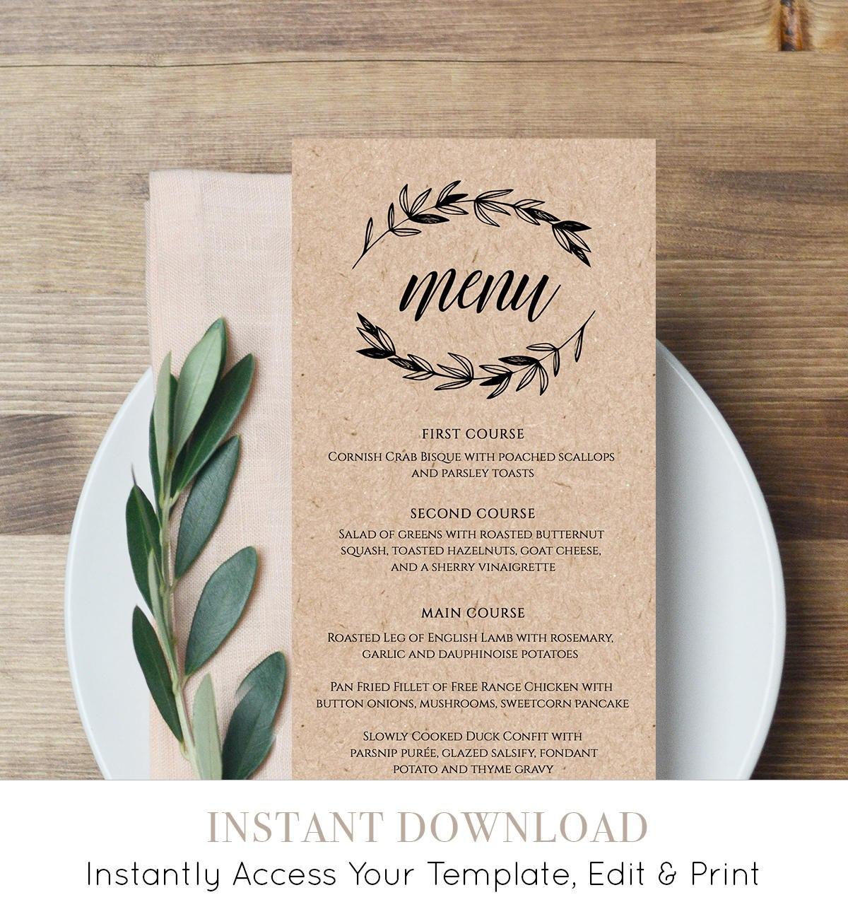 Rustic Wedding Menu Template Printable Menu Card Editable Throughout Wedding Menu Templates Free Download