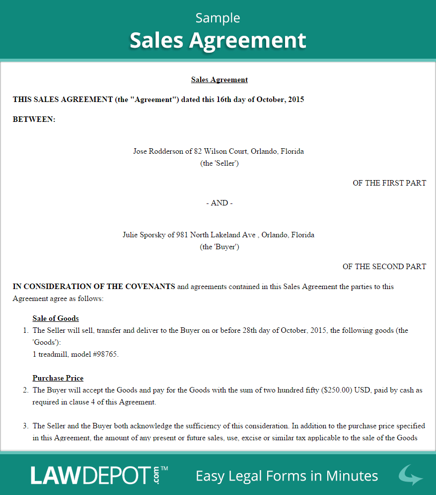 Sales Agreement Form  Free Sales Contract Us  Lawdepot With Regard To Promise To Sell Agreement Template