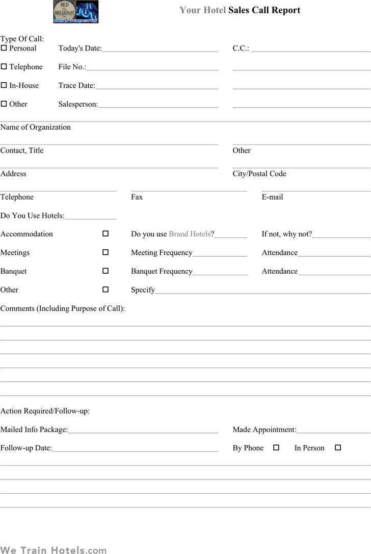 Sales Call Report Templates  Word Excel Fomats For Sales Call Reports Templates Free
