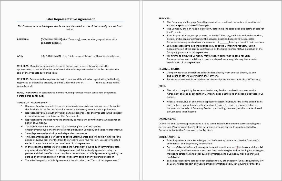 Sales Commission Contract Template Free Great  Free Sample Sales Regarding Sales Representation Agreement Template