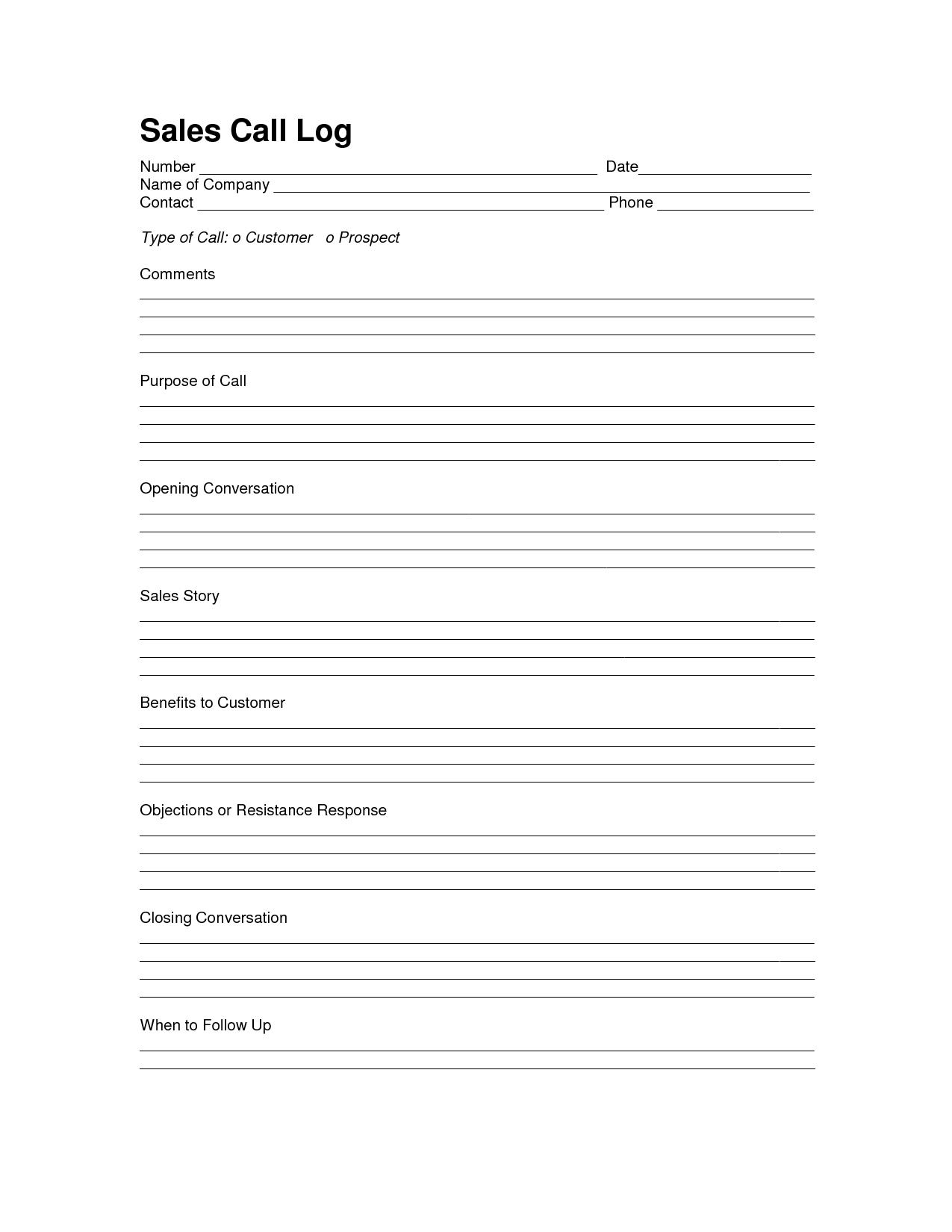 Sales Log Sheet Template  Sales Call Log Template  Call Log Regarding Sales Call Report Template