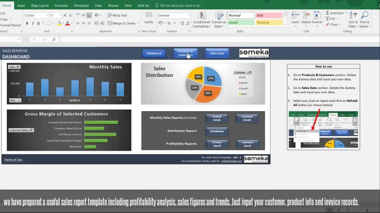 Sales Report Template  Excel Dashboard For Sales Managers  Youtube Throughout Sale Report Template Excel