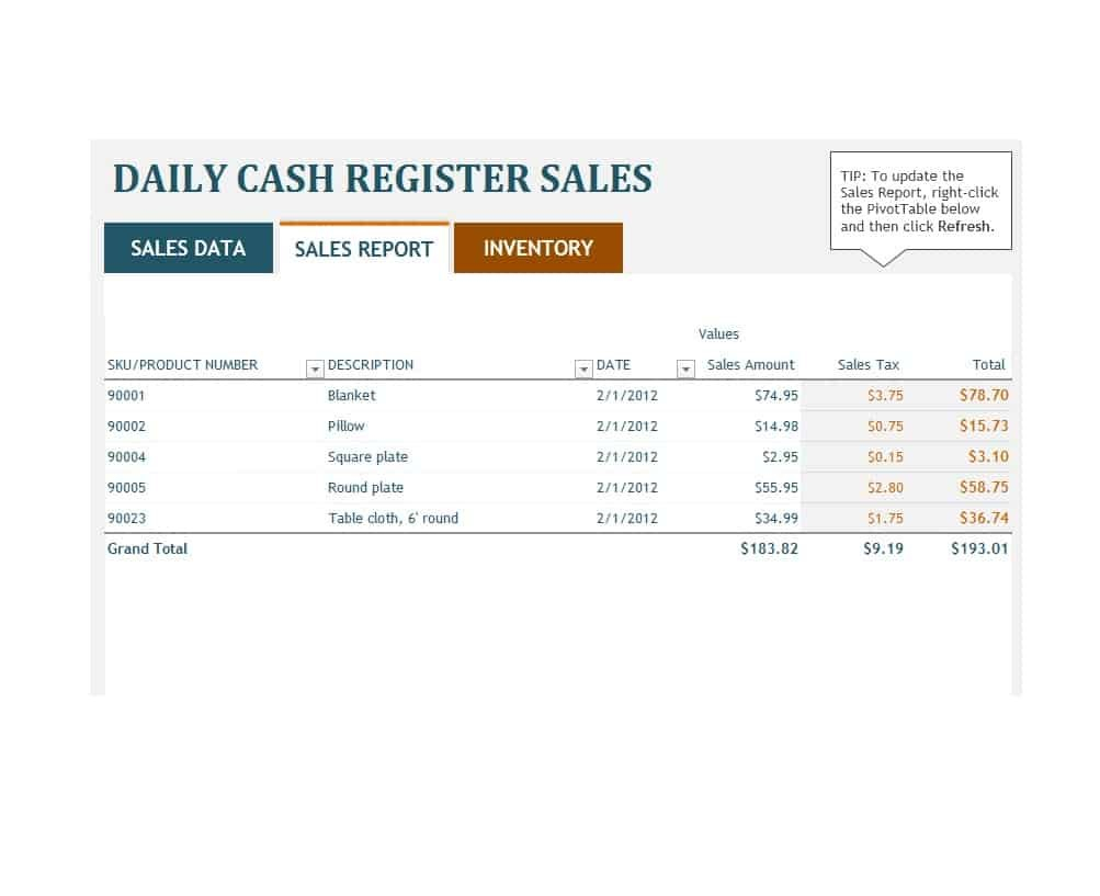 Sales Report Templates Daily Weekly Monthly Salesman Reports Inside Daily Sales Report Template Excel Free
