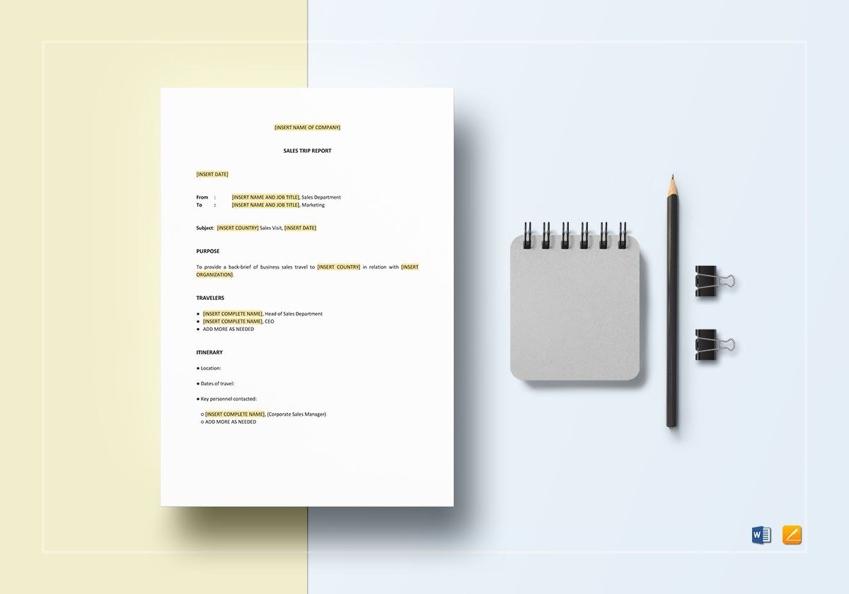 Sales Trip Report Template In Word Apple Pages With Sales Trip Report Template Word