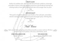 Salon Menu Templates From Imenupro pertaining to Salon Service Menu Template
