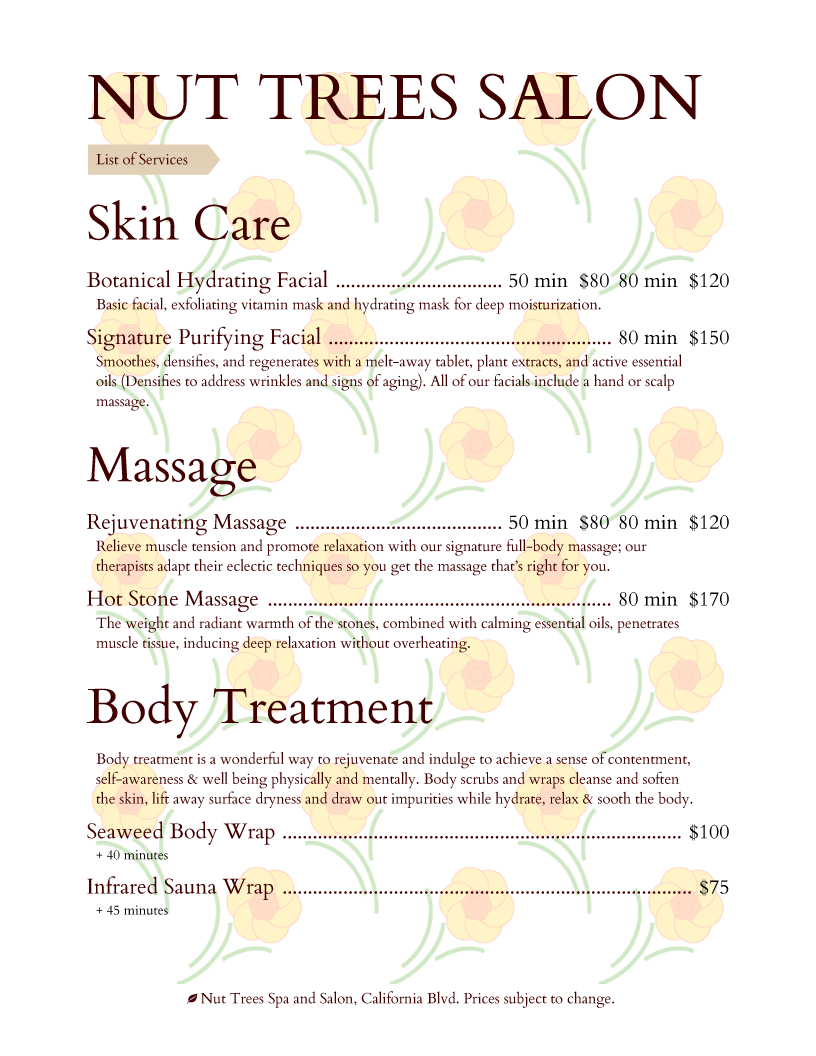 Salon Menu Templates From Imenupro With Regard To Spa Menu Template