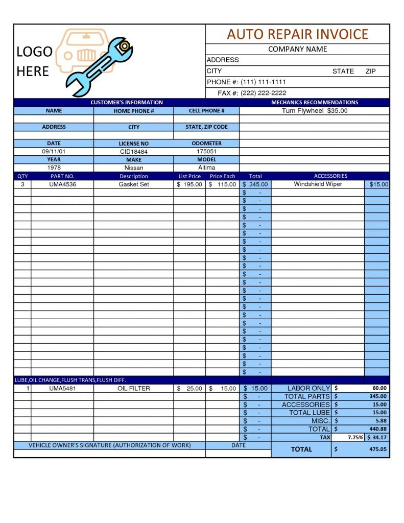 Sample Auto Repair Invoice Garage Template Word Example Templates Inside Cell Phone Repair Invoice Template