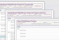 Sample Behavior Contracts  Parentchild Behavior Contracts in Good Behavior Contract Templates