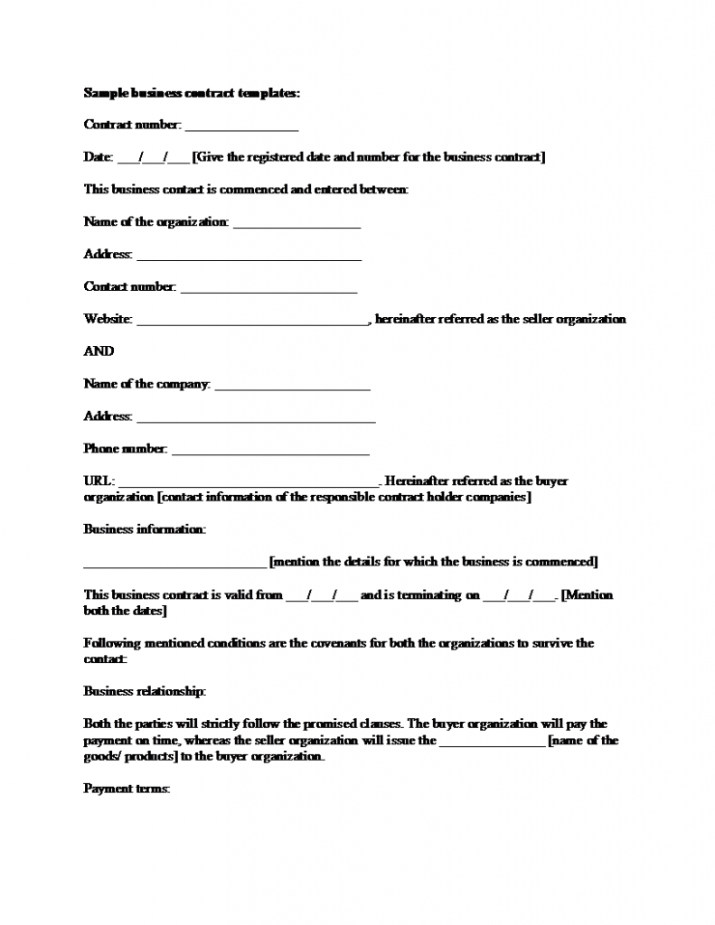 Sample Business Contract Template With Regard To Free Business Transfer Agreement Template