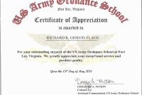 Sample Certificate Of Appreciation For Resource Speaker with Army Certificate Of Appreciation Template