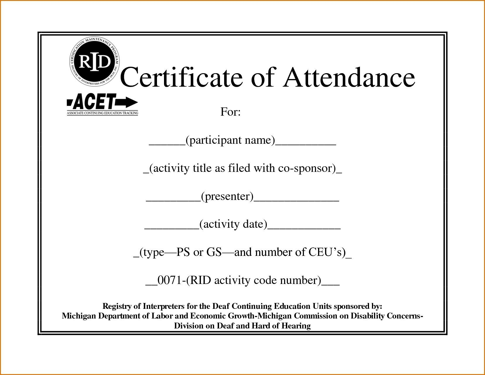 Sample Certificate Of Attendance Template  Sansurabionetassociats Within Conference Certificate Of Attendance Template