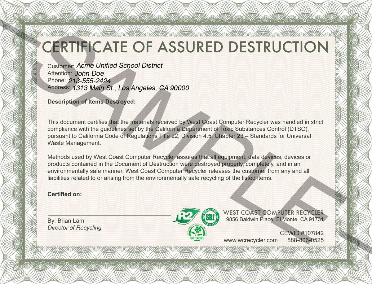 Sample Certificate Of Destruction Wsppn Environmental  Mandegar Intended For Destruction Certificate Template