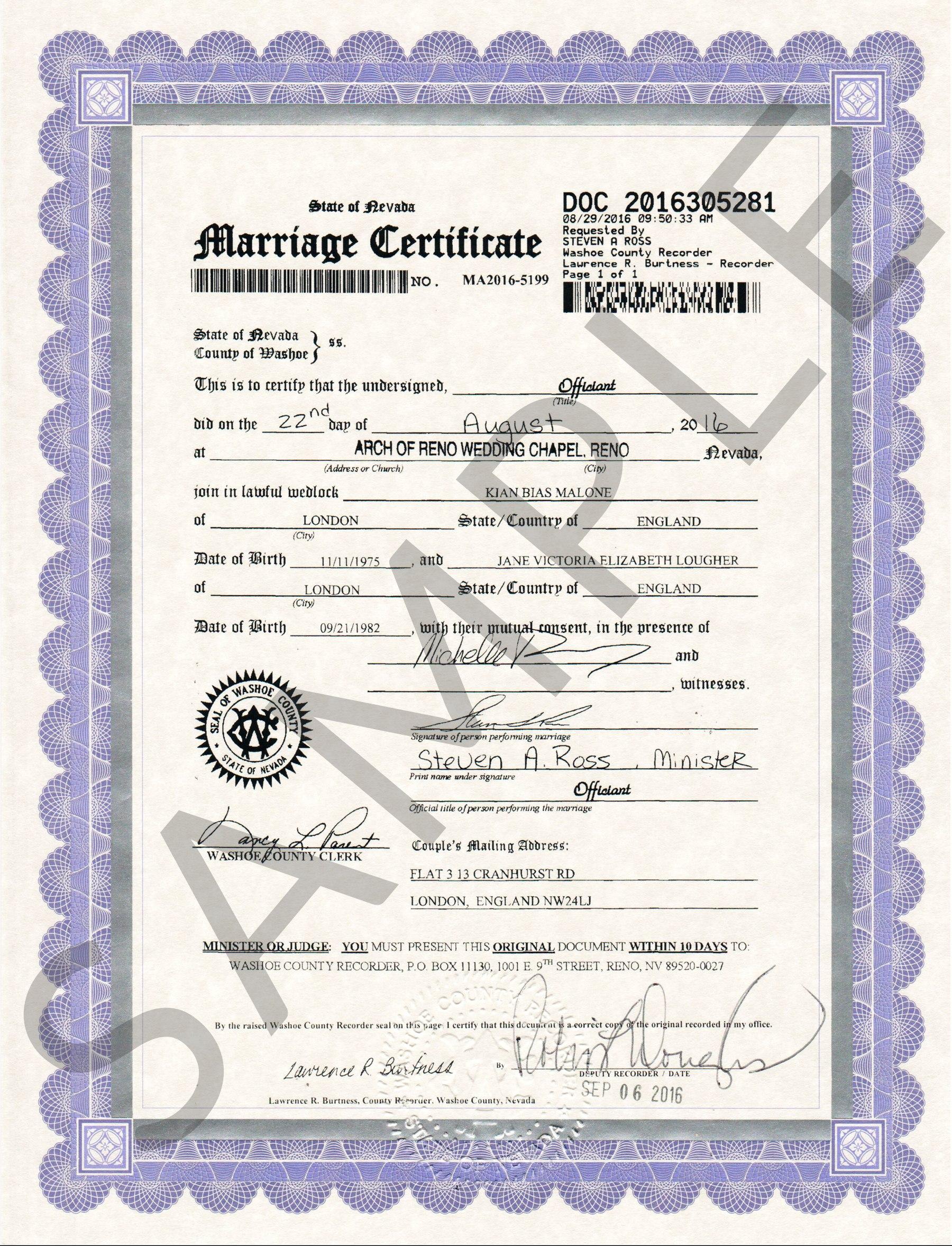 Sample Certificate Washoe  Marriage Certificate Sample For Certificate Of Marriage Template