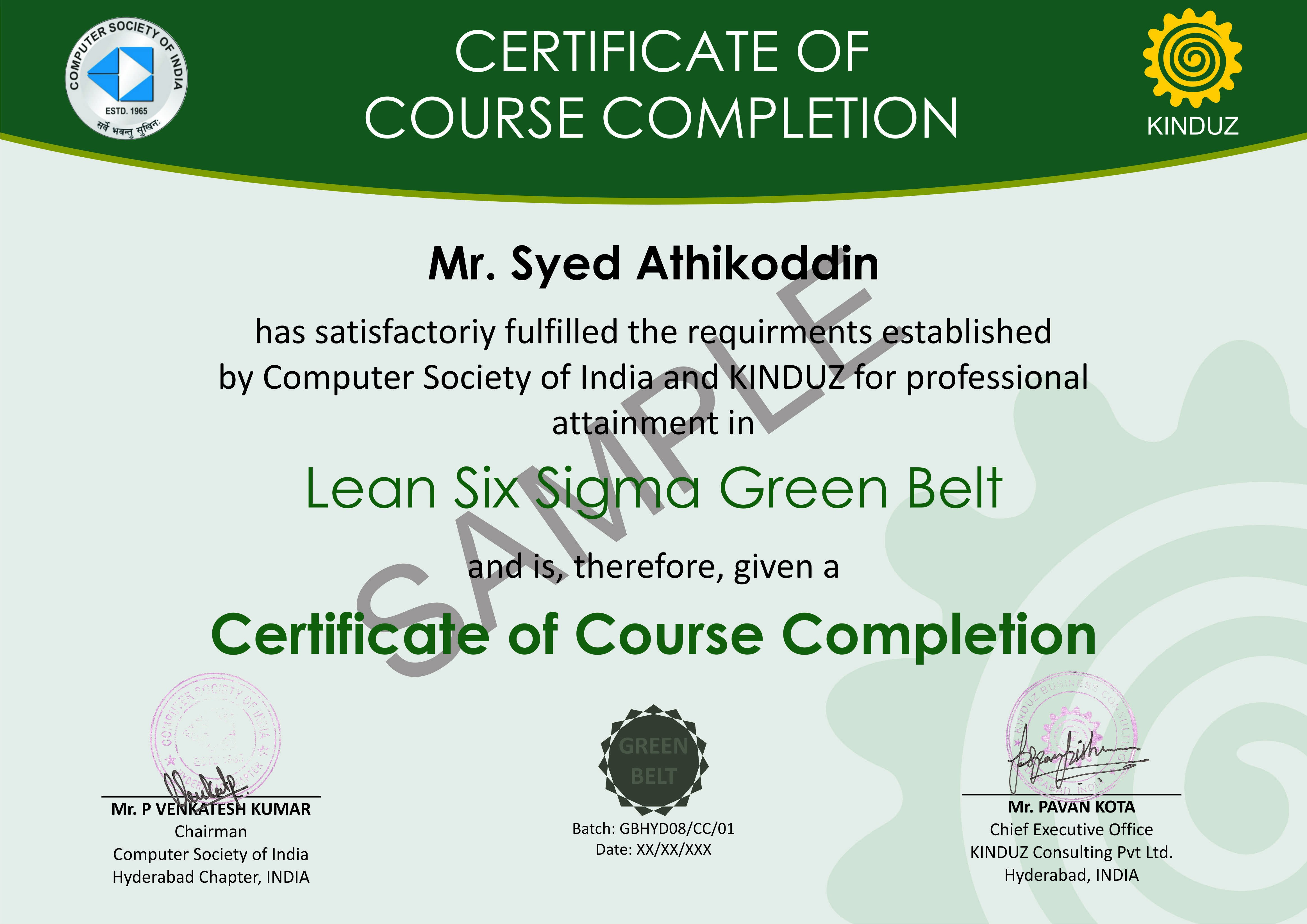 Sample Certificates  Lean Six Sigma India Within Green Belt Certificate Template