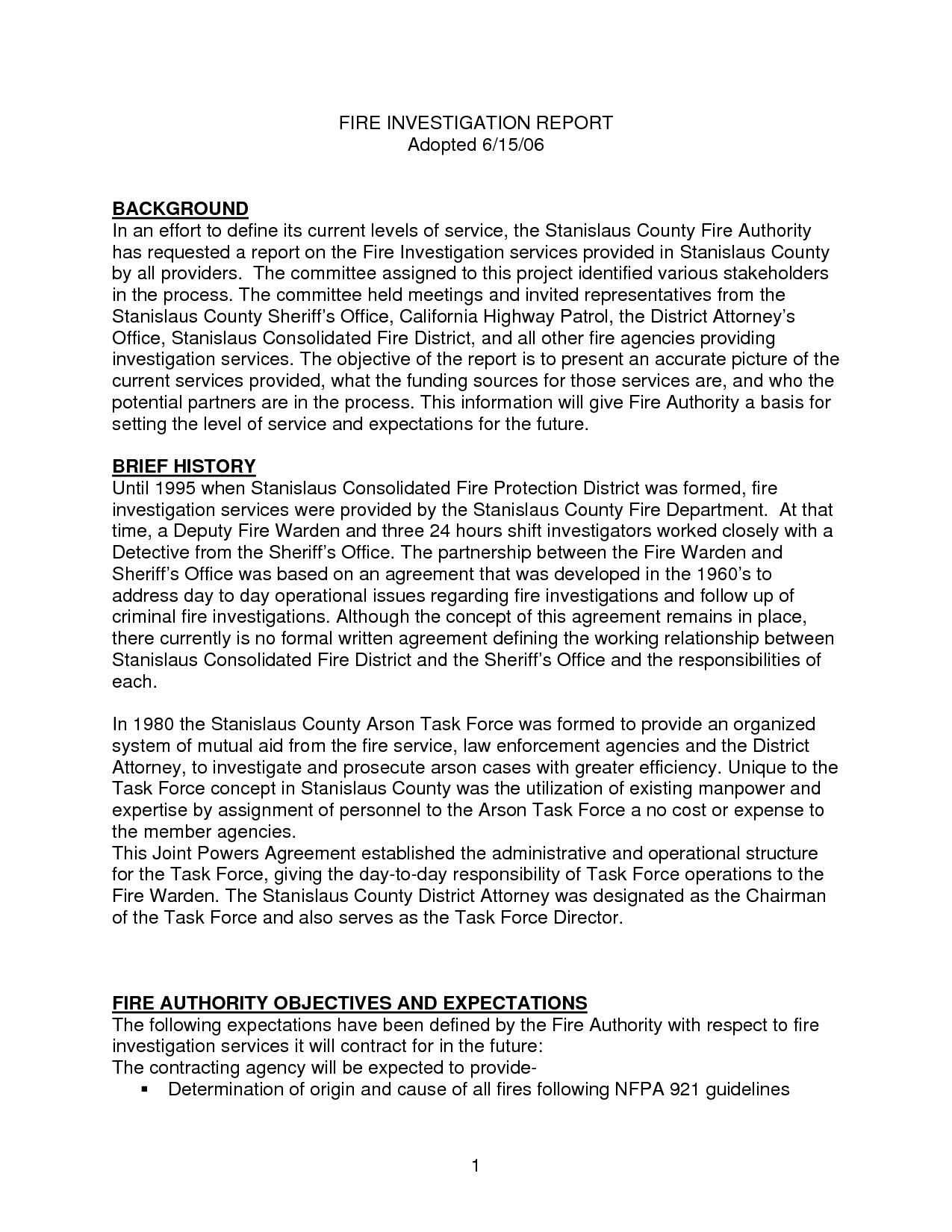 Sample Fire Investigation Report Template  Cablomongroundsapexco Inside Sample Fire Investigation Report Template