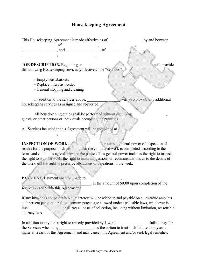Sample Housekeeping Agreement Form Template  Helpful Tips For With Regard To Carpet Cleaning Service Contract Templates