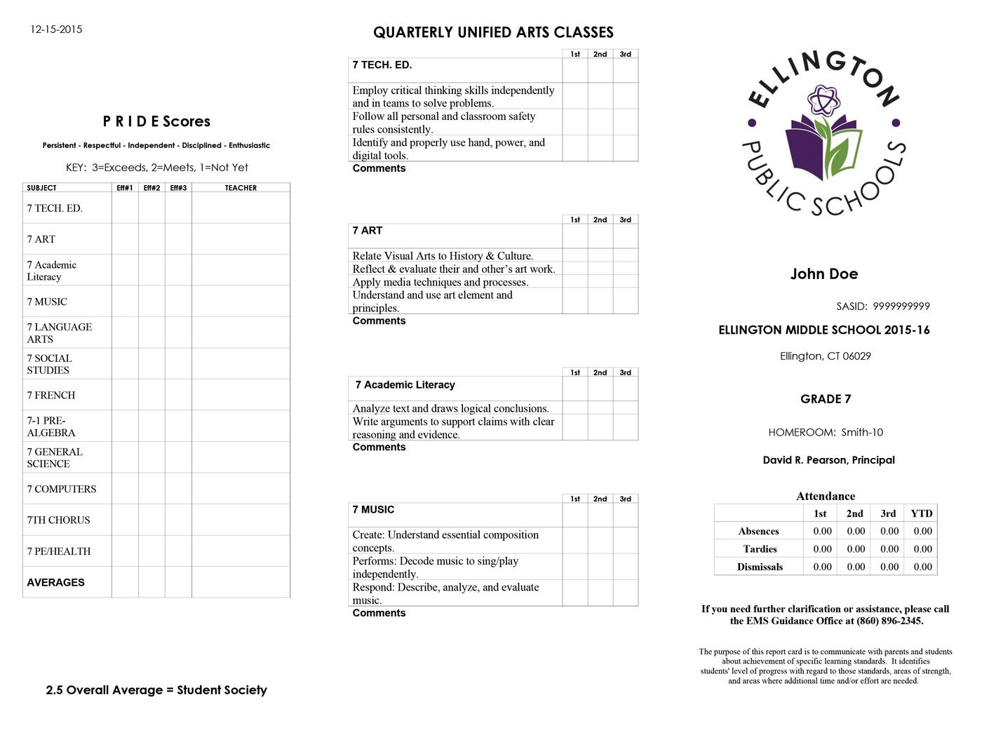 Sample Middle School Report Card  Shelton Public Schools Throughout Report Card Template Middle School