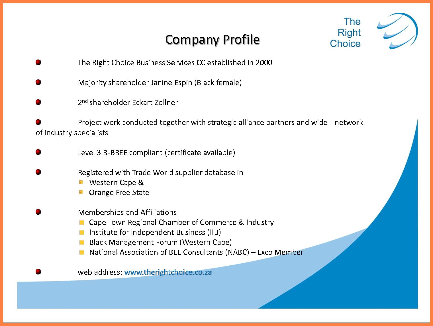 Sample Of Simple Company Profile  Company Letterhead With Regard To Simple Business Profile Template