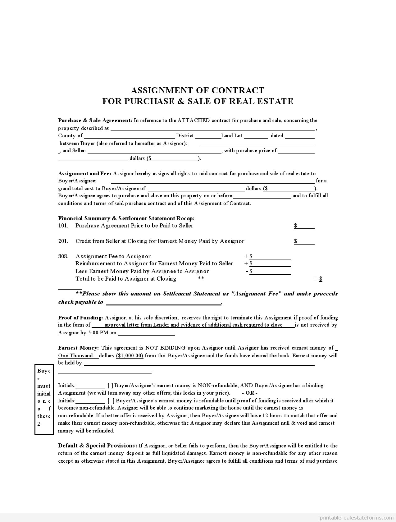 Sample Printable Assignment Of Contract Form  Sample Real Estate With Credit Assignment Agreement Template