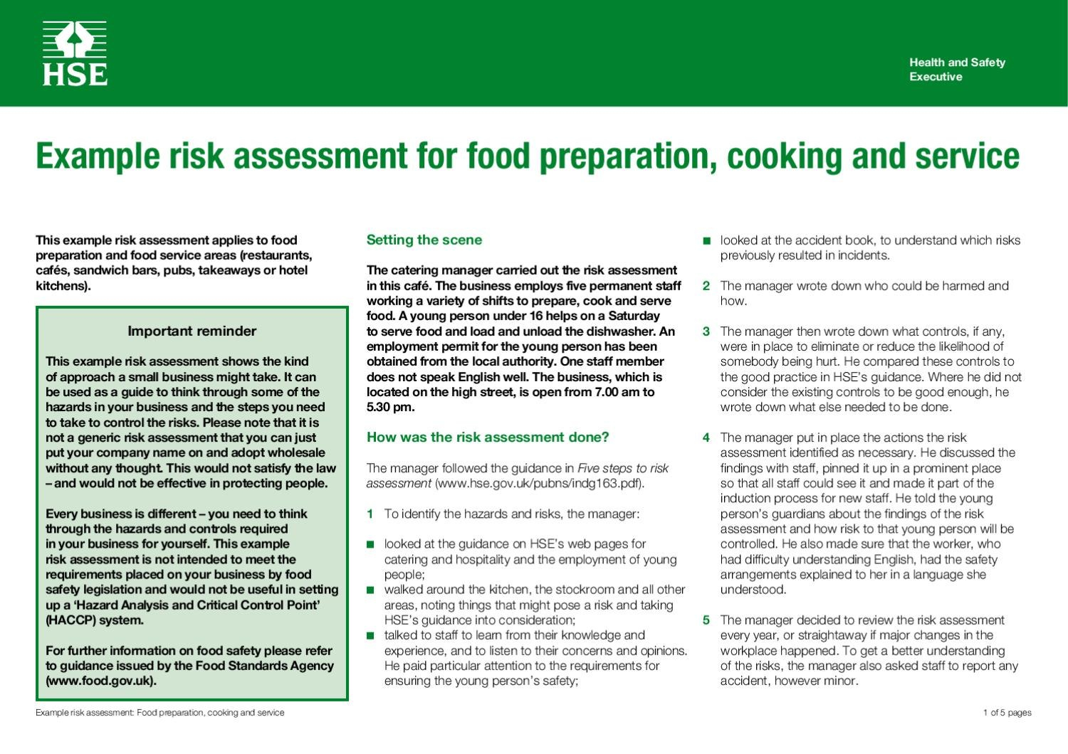 Sample Risk Assessmentkatie Allen  Issuu With Regard To Safety Analysis Report Template