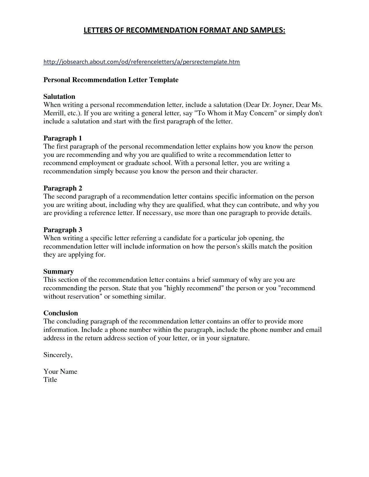 Sample Template For Letter Of Recommendation Collection Throughout Recommendation Report Template